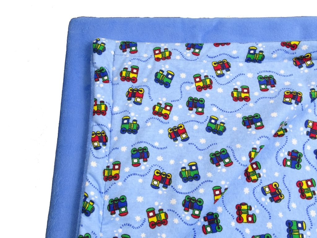 Plush Reversible Blue Trucks and Things Blanket  Edgeless